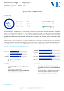 Sustainability Rating Report